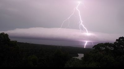 Lightning seen over Georges River, taken from Alfords Point in Sydney's south. (Greg Tannos)