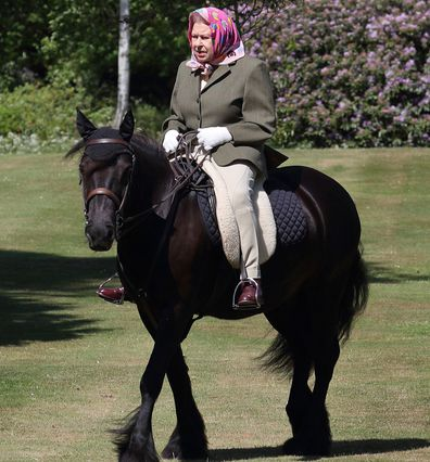 Queen riding horse at Windsor