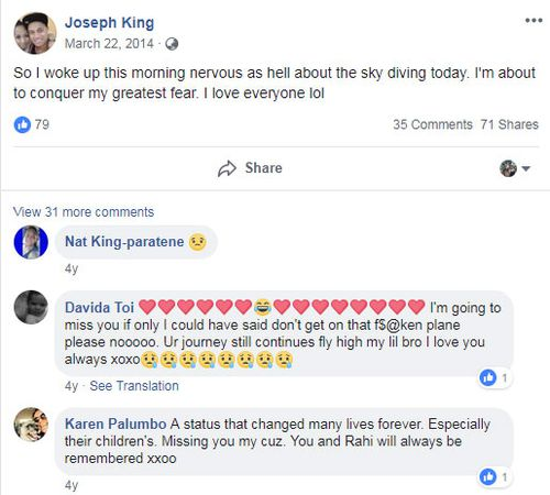 Hours before his first skydive with fiancé Rahi Hohua, Joey King wrote on his Facebook page; the couple were later killed when the plane crashed in Queensland.