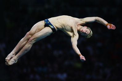 Matthew Mitcham competes during the Men's 10m Platform Final diving event held at the National Aquatics Center on Day 15 of the Beijing 2008 Olympic Games