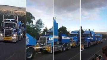 Six trucks haul huge generator through Victoria