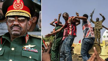 Sudan's President Omar al-Bashir (left) as Sudanese celebrate end to al-Bashir's 30 years in power.