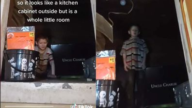 Split screen of a child demonstrating how their kitchen cabinet is big enough to house an eight year old.