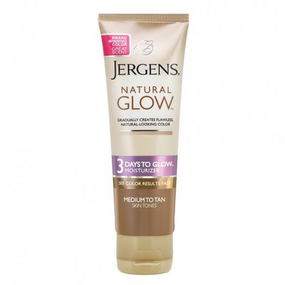"<p>Glow with-&nbsp;<a href=""https://www.priceline.com.au/brand/jergens/jergens-natural-glow-3-days-to-glow-moisturiser-medium-to-tan-118-ml"" target=""_blank"" draggable=""false"">Jergens Natural Glow 3 Days Moisturiser Medium to Tan 118ml, $10.99</a></p> <p>A silky moisturiser that&nbsp;creates a natural-looking colour that's gradual, flawless and captivating.</p> <p>&nbsp;</p>"