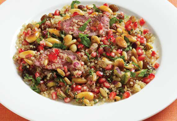 Rena Patten's lamb with pomegranate, mint and nuts