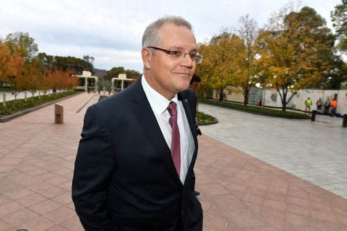 Treasurer Scott Morrison arrived at Parliament House this morning to prepare for tonight's budget. (AAP)