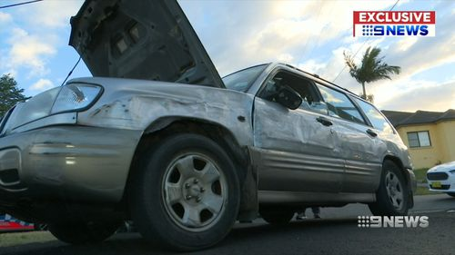 The vehicle complete with a kitchen sink was towed away late this afternoon. Picture: 9NEWS