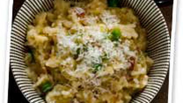 Pancetta, pea & fennel baked risotto