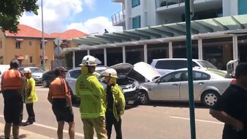 A stolen car has caused a crash at The Strand in Townsville.
