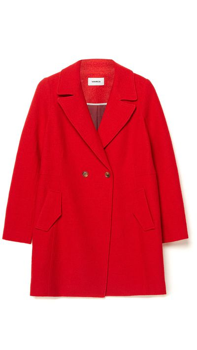 """<a href=""""http://www.marcs.com.au/product-detail.html?styl=17287&clr=RED%20MARLE&cat=656#.VRI0gPmUd1Y""""> Felted Wool Double Button Coat, $349, Marcs</a>"""