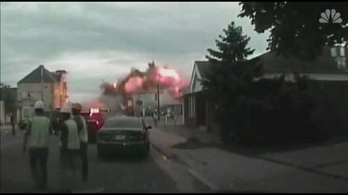 Emergency service personal can be seen running in this frightening dash cam footage.