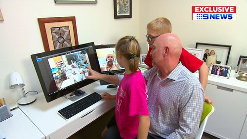 After weeks in hospital, Mr Mitchell is now back home with his family. (9NEWS Exclusive)