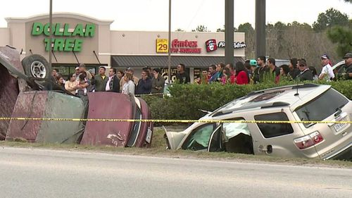 The Harris County Sheriff's Office says the SUV was filled with teens who were throwing eggs at other cars yesterday afternoon when another driver began chasing them.