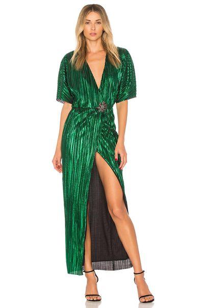 "<p>Exact match:&nbsp;<a href=""https://www.lyst.co.uk/clothing/house-of-harlow-1960-sabrina-dress/"" target=""_blank"" draggable=""false"">House of Harlow 1960 green sabrina dress</a>, $288</p> <p>&nbsp;</p>"
