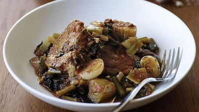 "Recipe:&nbsp;<a href="" http://kitchen.nine.com.au/2016/05/17/15/06/braised-lamb-with-chicory"" target=""_top"" draggable=""false"">Braised lamb with chicory</a>"
