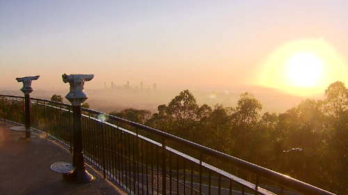 Sunrise at Mt Coot-tha Lookout.