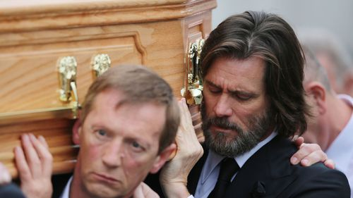 Carrey at Ms White's funeral. (AAP)