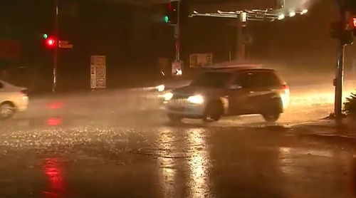 The downpour caused flash flooding as drains struggled to cope with the amount of water gushing through them and almost 2000 homes lost power at the height of the storm.