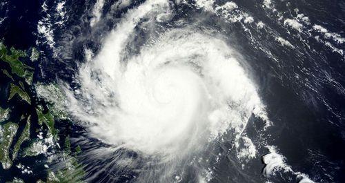 The typhoon is expected to make landfall tomorrow. (NASA)