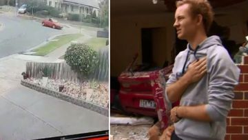 Moment car slams into sleeping family's home