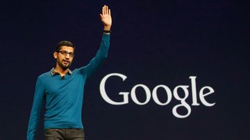 Sundar Pichai, senior vice president of Android, Chrome and Apps, waves after speaking during the Google I/O 2015 keynote presentation in San Francisco. (AP)