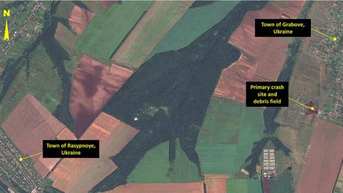 Satellite image of crash site taken by Airbus Defense and Space. (Supplied)