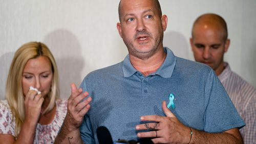 Joseph Petito, father of Gabby Petito, whose death on a cross-country trip has sparked a manhunt for her boyfriend Brian Laundrie, speaks during a news conference.
