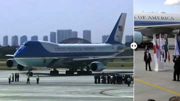 Two photos contrast the G20 arrivals of Barack Obama in China, and Donald Trump in Germany.