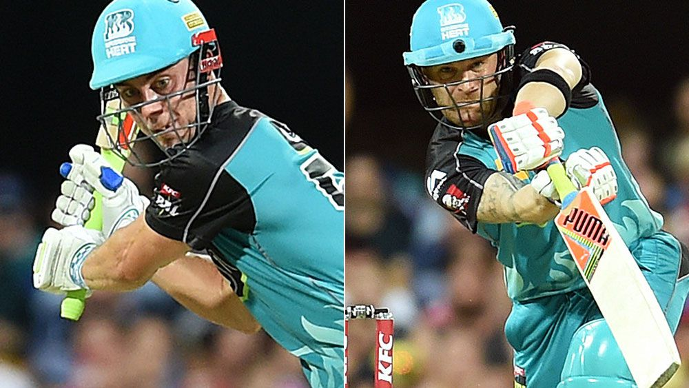 Chris Lynn and Brendon McCullum. (AAP)