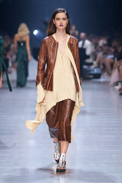Silk shirts combined paired with a textured leather jacket lead the way at Kit X.