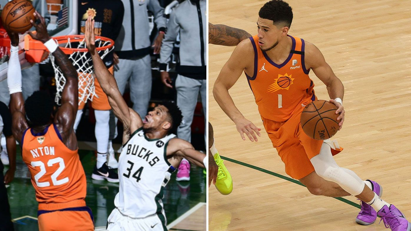 Giannis' huge block negates a crucial no-call on Devin Booker as the Bucks tied the finals series.