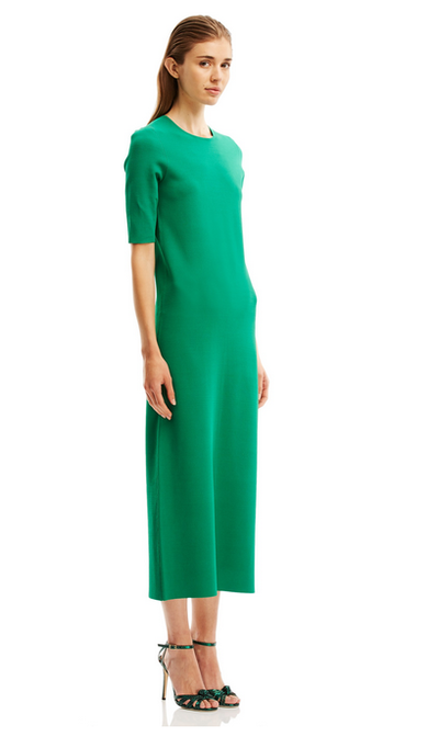 "The power dress <a href=""http://www.scanlantheodore.com/dresses/c57107-micro-crepe-sslv-dress"" target=""_blank"">Scanlan & Theodore crepe dress, $500.</a>"