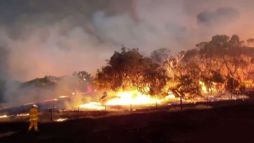 A massive fire burning on Kangaroo Island.