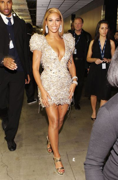 <p>2010: Many of Beyonc&eacute;&rsquo;s red carpet looks also operate as armour and this Swarovski bedazzled dress is no exception. </p> <p>Here the queen of pop collaborated with Italy&rsquo;s king of fashion with memorable results.</p>