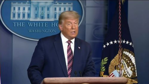 US President Donald Trump giving an address on Thursday night, local time.
