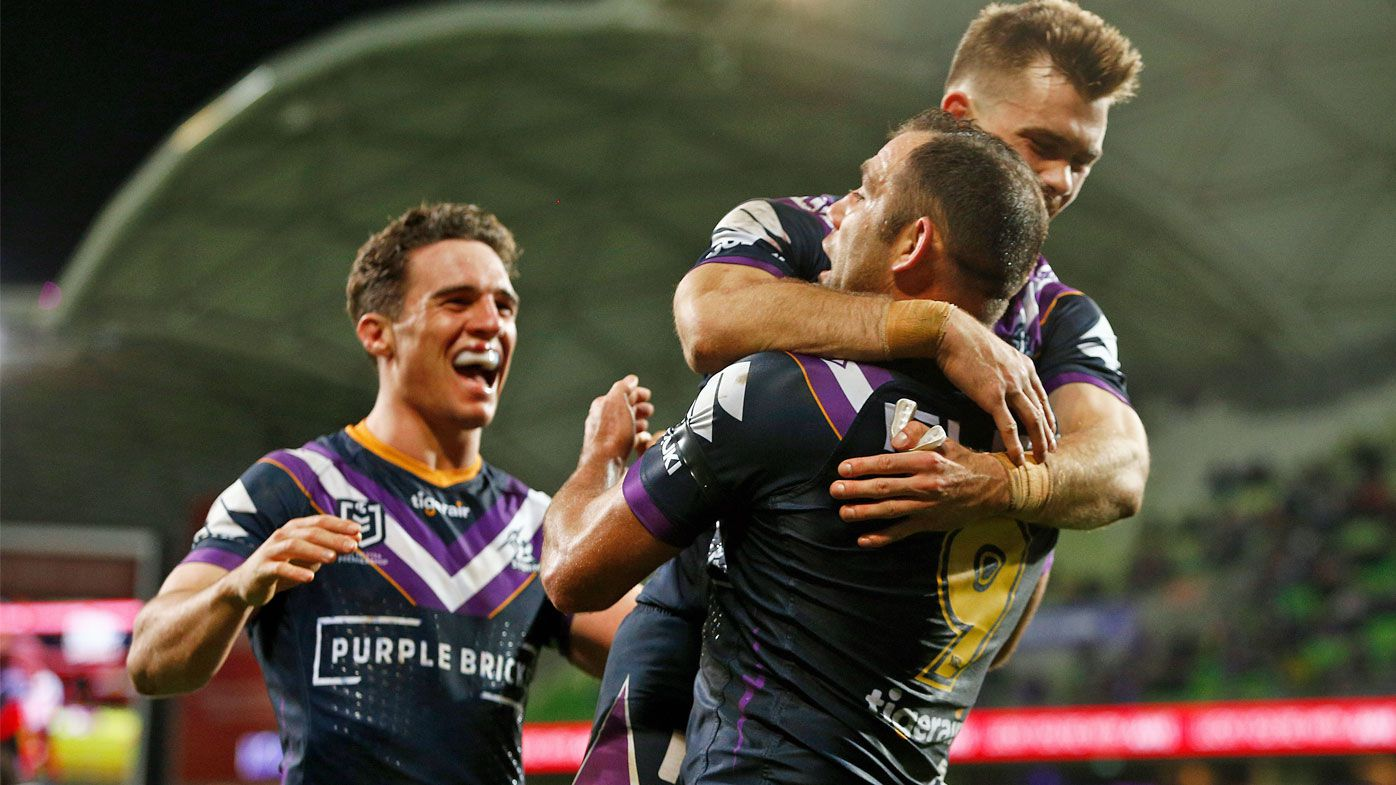 Storm players celebrate what they thought was a record breaking Cam Smith try