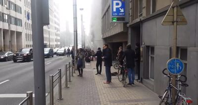 A picture taken from a video posted by Twitter user @jfbxl shows smoke coming out from the Maelbeek metro station.