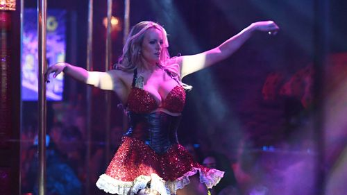 Stormy Daniels pictured performing her routine. Picture: AP