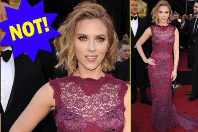 This should work in theory... but this faded mulberry madness just doesn't do a hottie like Scarlett any favours.