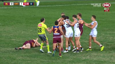 Brisbane Lions defender Harris Andrews suffers brain bleeding after GWS Giants' Jeremy Cameron hit
