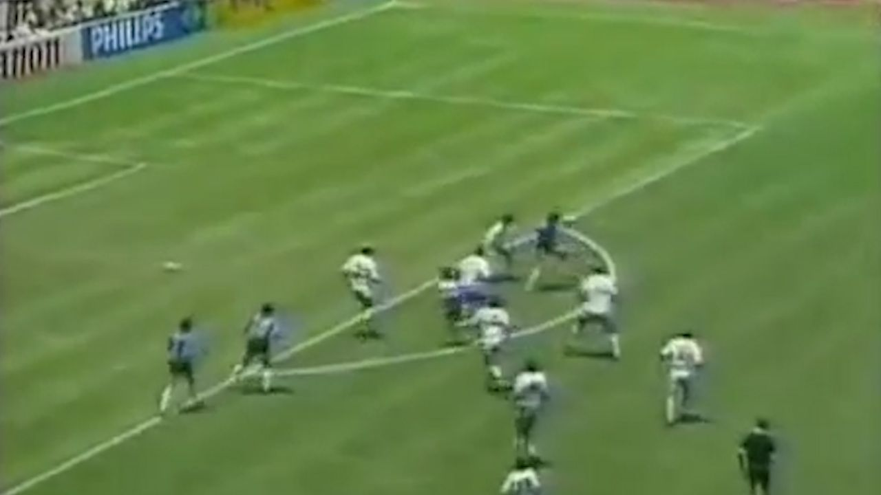 Maradona scores through the 'Hand of God'