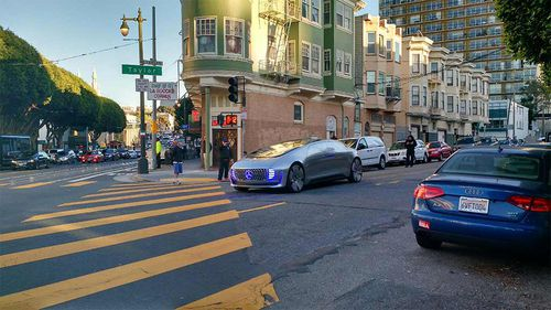 The driverless Mercedes-Benz has been spotted cruising the streets of San Francisco. (Reddit)