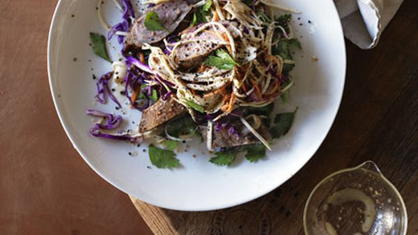 Salt-baked duck breast with root vegetable and red cabbage slaw