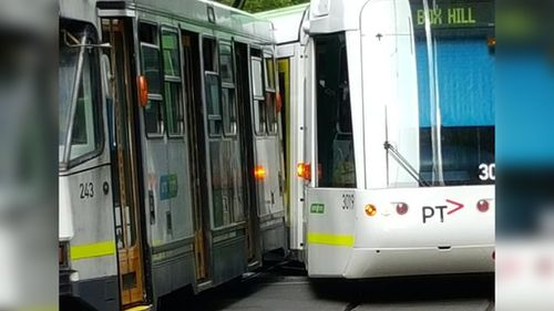 Commuters lucky to escape injury after trams collide in Melbourne CBD