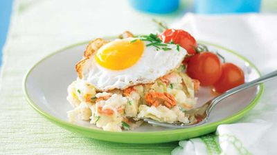 """Recipe: <a href=""""http://kitchen.nine.com.au/2016/05/13/11/18/colcannon-with-salmon-and-fried-eggs"""" target=""""_top"""">Colcannon with salmon and fried eggs</a>"""