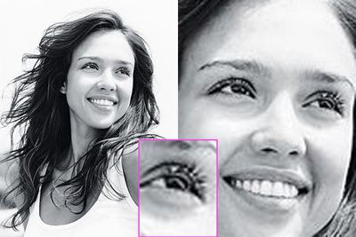 "My, my, isn't Jess blessed with the most superb long lashes? The star posed for <i>People</i>'s ""Celebs without makeup"" shoot in 2008, but is the black-and-white hiding just a little bit of slap? (Image: <i>People</i> magazine)"