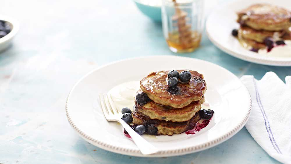 Banana blueberry almond pancakes