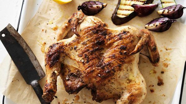 Dan Churchill's butterflied saltbush chook with charred vegetables recipe from Surfing the Menu_thumb