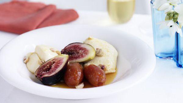 Honey mousse with roast dates, fig and hazelnuts