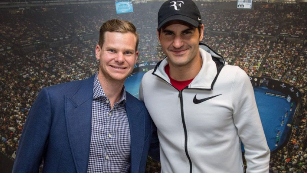Steve Smith catches up with Roger Federer at the Australian Open
